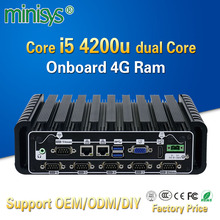 Minisys 2017 newest industrial mini pc windows 10 intel core i5 4200u dual lan fanless embedded computer onboard 4gb ram 6 COM