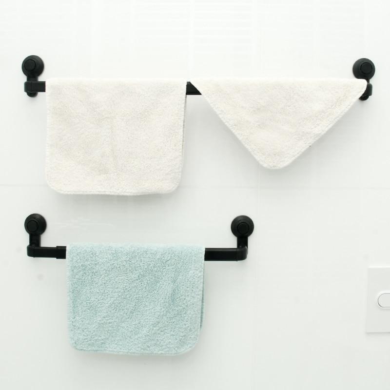 KLX Aluminum Alloy Suction Cup Towel Bar Bathroom Punch Free Towel Rack Hanger Kitchen Storage Shelf Holder Adjustable 52-82CM