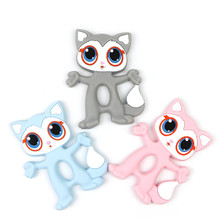 Food Grade Silicone Teethers DIY Animal Fox Baby Teether Infant Baby Silicone Chew Charms Kids Teething Gift Toddler Toys(China)