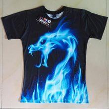 Mr.1991INC Cool T-shirt Men/Women 3d Tshirt Print Blue Fire Snake Short
