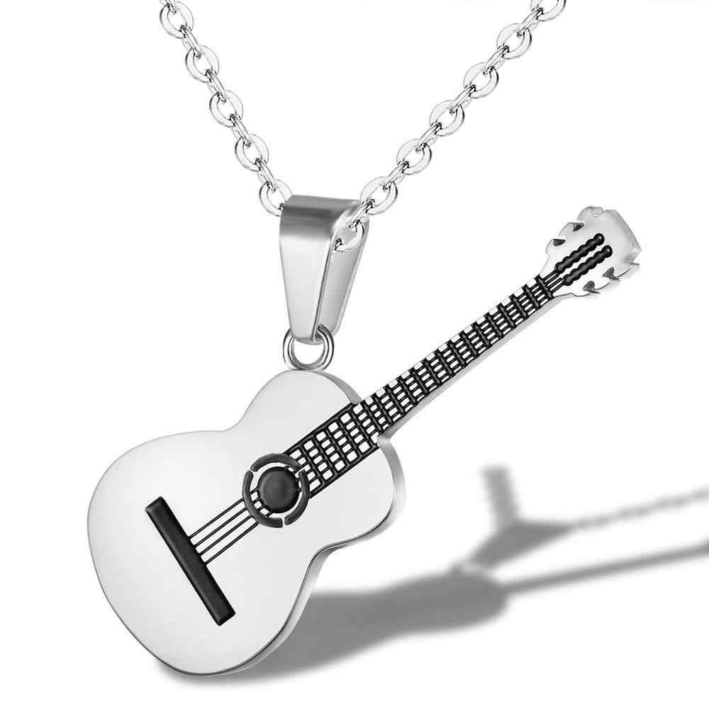 Batu Dua Tone Warna Emas Titanium Stainless Steel Musik Gitar Pendant Link Rantai Kalung untuk Pria Perhiasan