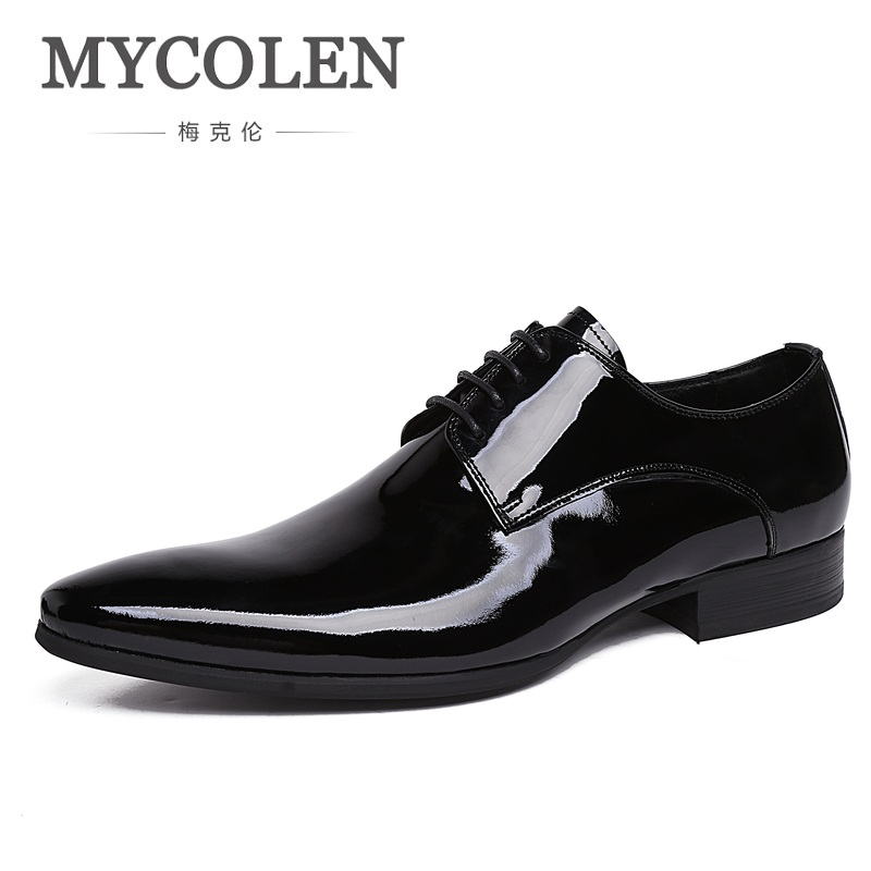 MYCOLEN Glossy Dress Shoes Flat Wedding Shoes Patent Leather Loafers Mens Shoes Luxury Brand Italian Brand Shoes For Men mycolen men loafers leather genuine luxury designer slip on mens shoes black italian brand dress loafers moccasins mens