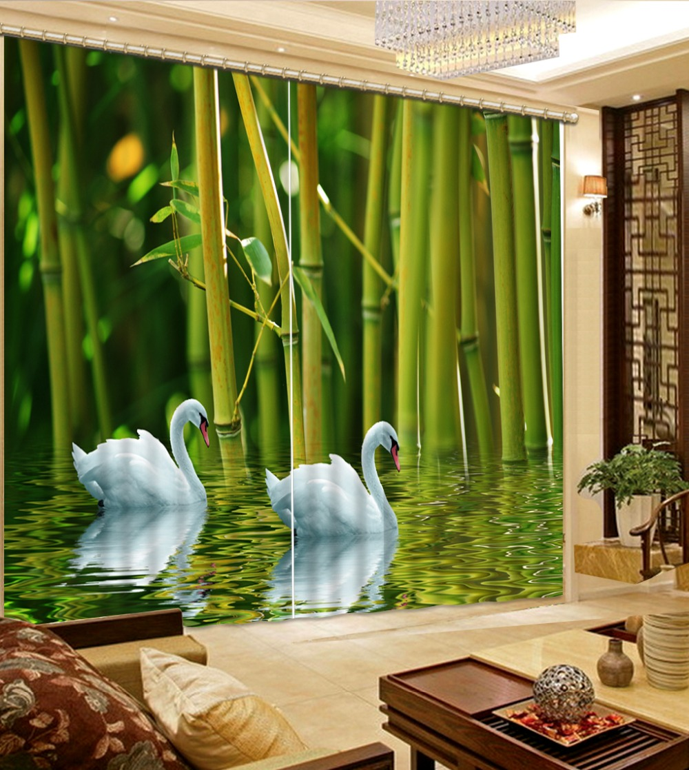 high quality 3D curtains custom stereoscopic Lake swan bamboo forest Used for Living room window curtain bed room for windows  high quality 3D curtains custom stereoscopic Lake swan bamboo forest Used for Living room window curtain bed room for windows