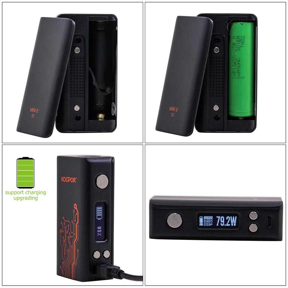 Original SMOK KOOPOR MINI 2 Mod 80W TC VW Vape MOD Temperature Control  Electronic Cigarette Koopor Mini For 510 Thread Tank
