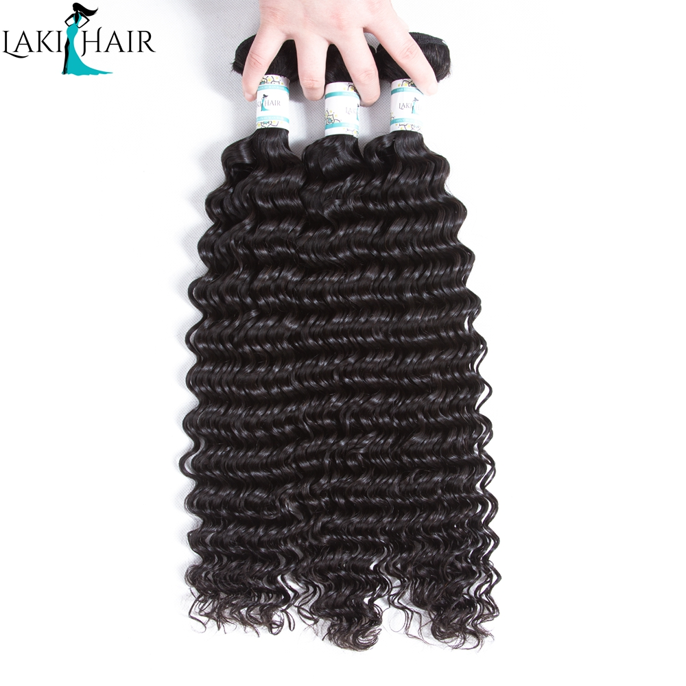 Lakihair 3 Bundles Deal Brazilian Deep Wave Bundles 100% Human Hair Weave Bundles Natural Black Color Remy Hair Extension ...