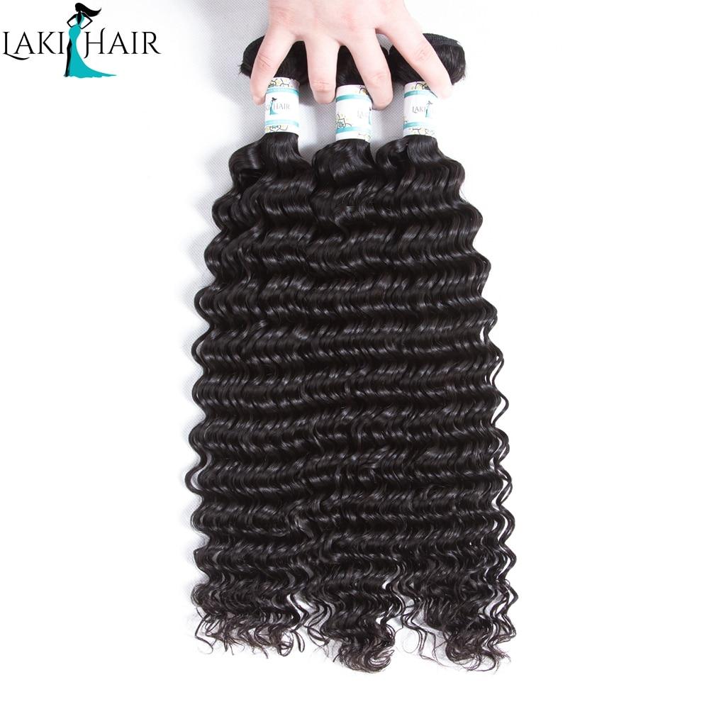 Lakihair 3 Bundles Deal Brazilian Deep Wave Bundles 100% Human Hair Weave Bundles Natural Black Color Remy Hair Extension