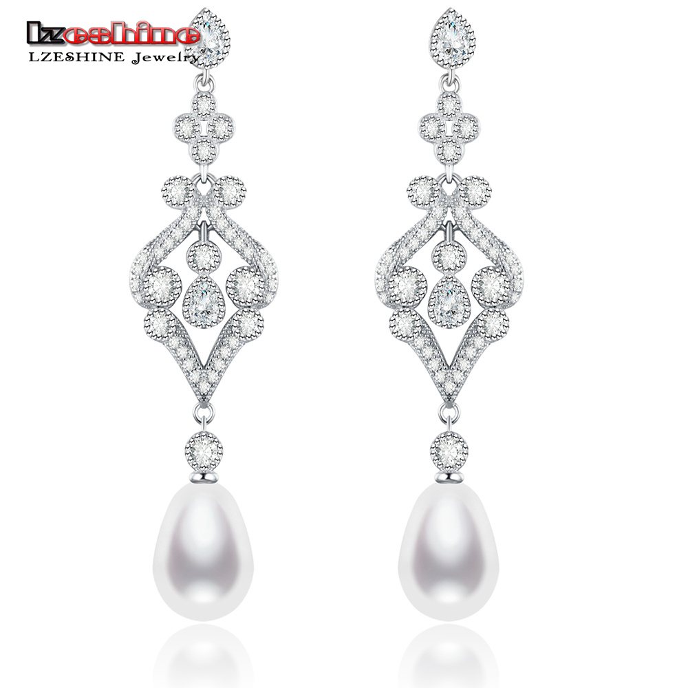 LZESHINE 100% 925 Sterling Silver Pearl Drop Earrings For Womens Elegant Palace Style CZ Wedding Bridal Jewelry Pendant Earrings