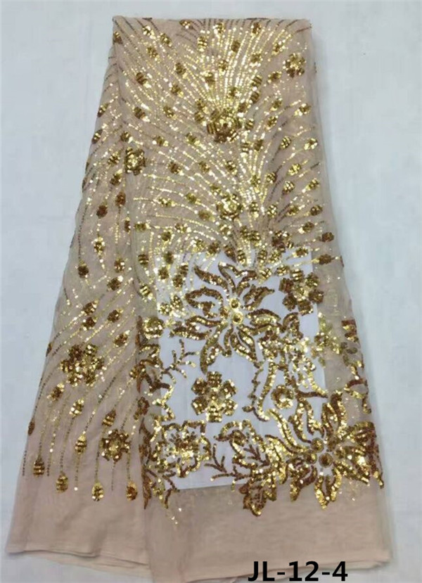 Buy rose gold fabric african sequence for Wedding dress fabric stores