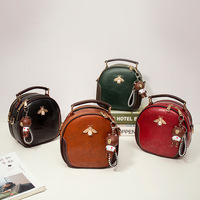 Bee small round bag European and American retro leather bag sac a main femme de marque luxe cuir 2018 ME1003