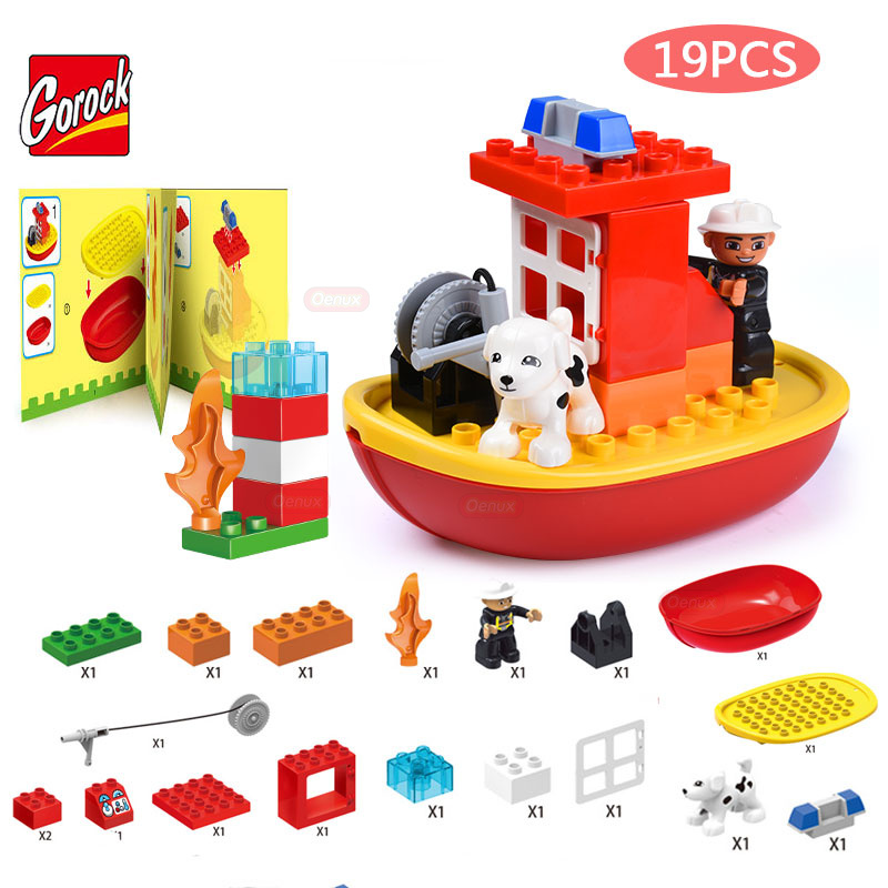 GOROCK 19PCS/SET City Fire Station The Water Rescue Scene Model Large Size Building Block City Fireman Search Dog Brick Kid Toy the rescue