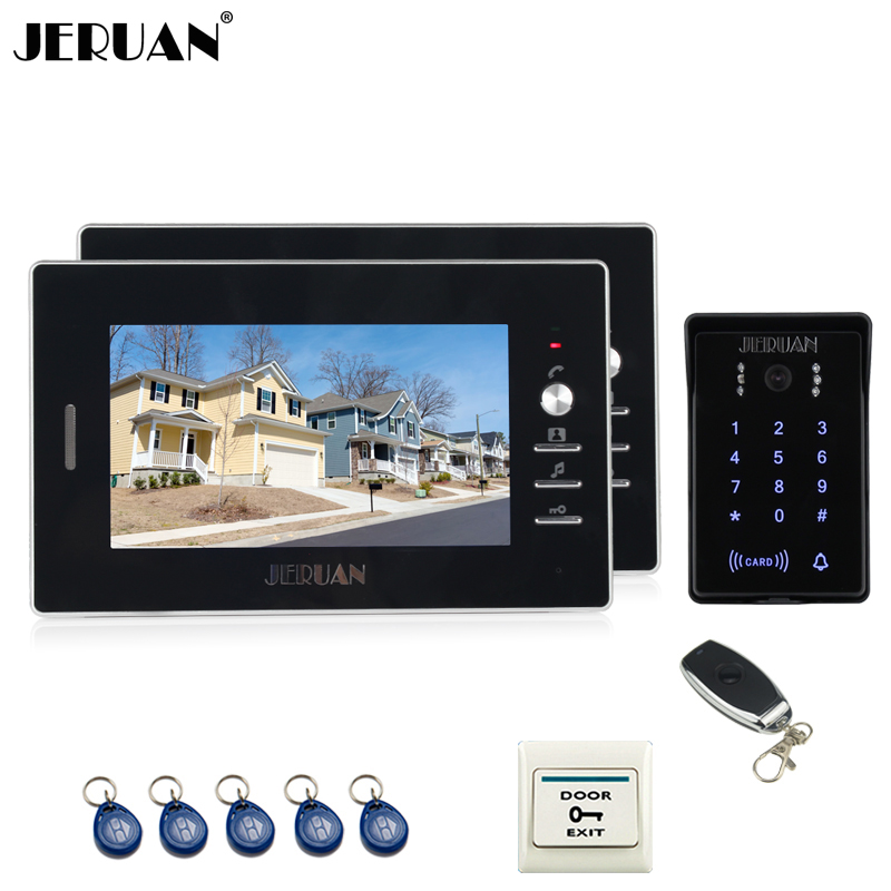JERUAN 7`` LCD screen video door phone intercom system RFID waterproof touch key password keypad access camera +remote control handheld game 3 inch touch screen lcd displays 4 way cross keypad polar system