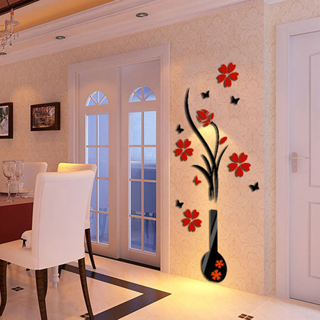 2017 New Modern Style DIY Vase Flower Tree Crystal Acrylic 3D Wall Stickers  Decal Home Wall