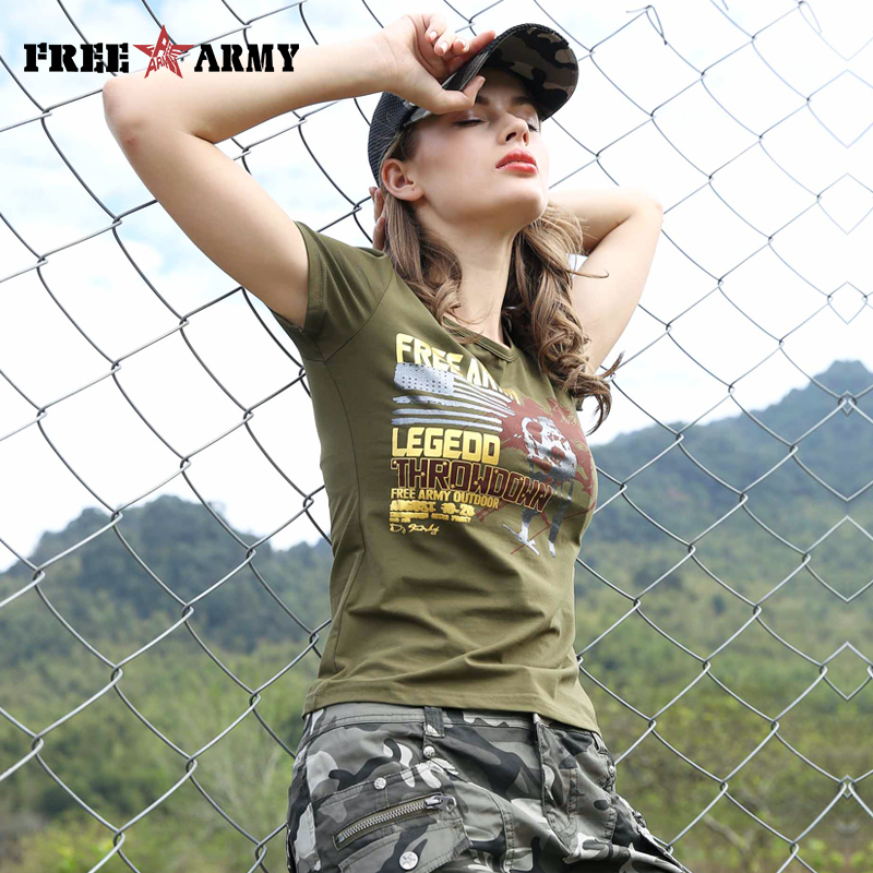 2017 Brand Summer Women's Tees Army Green Clothing Military Fashion Printed T Shirts New Short Sleeved T-Shirt Tops Female