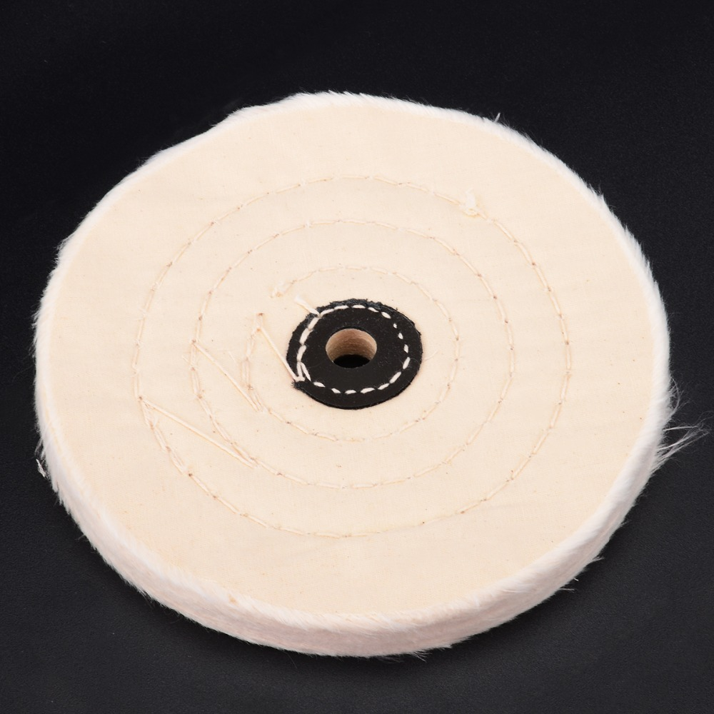 Mayitr 6'' White Cloth Buffing Wheels Buffer Grinder Pad Wood Metal Polishing