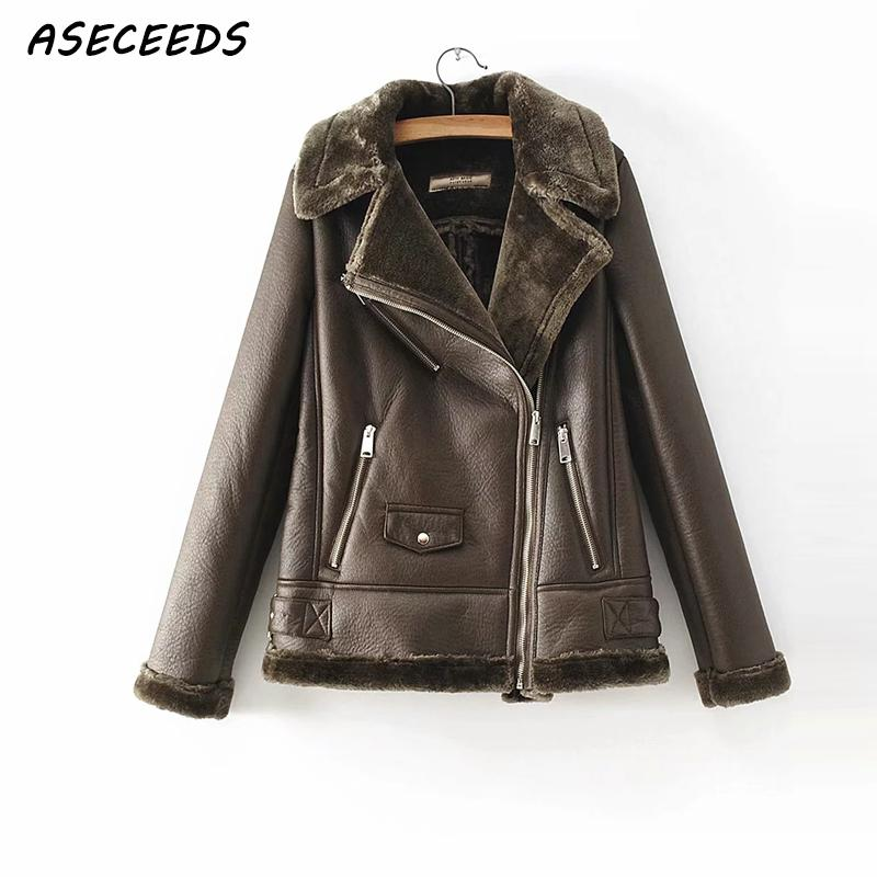Winter Lamb Faux   Leather   Jacket Women PU jacket Lambs Wool Fur Collar   Suede   Jacket Coats Female Warm Thick Motorcycle Outerwear