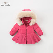 DB8954 dave bella baby girls winter Down jacket children 90% white duck down outerwear fashion navy rose coat(China)