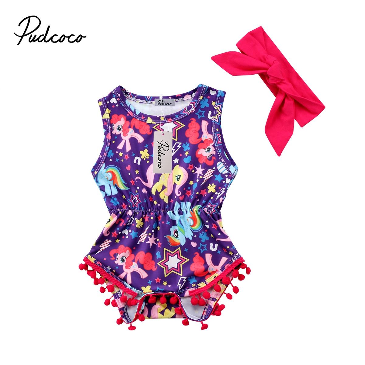 Cute Baby Clothing Newborn Baby Girls Unicorn Print Romper Jumpsuit Sleeveless Jumper Outfits Costume 0-2T