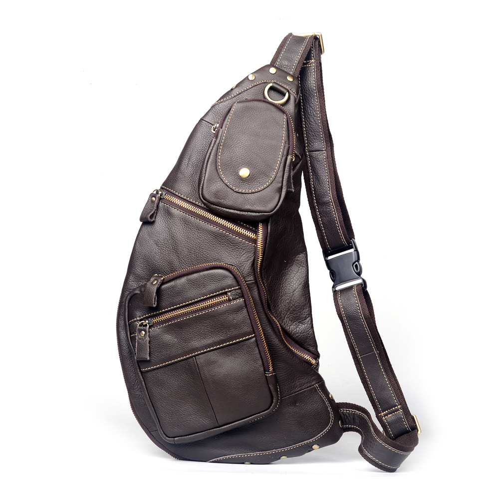 Brand Large Genuine Leather Casual Travel Bag Men's Chest Sling Pack Crossbody Shoulder Messenger Bags Style Design