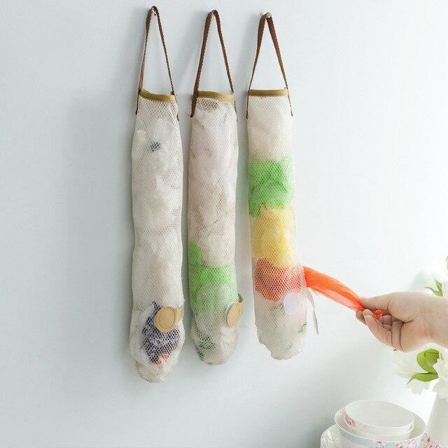 دعوى fouretaw الإبداعية شبكي للأغذية الخضار الفاكهة البطاطس والثوم كيس القمامة مكتب مطبخ التخزين الجدار شنقا المنزل