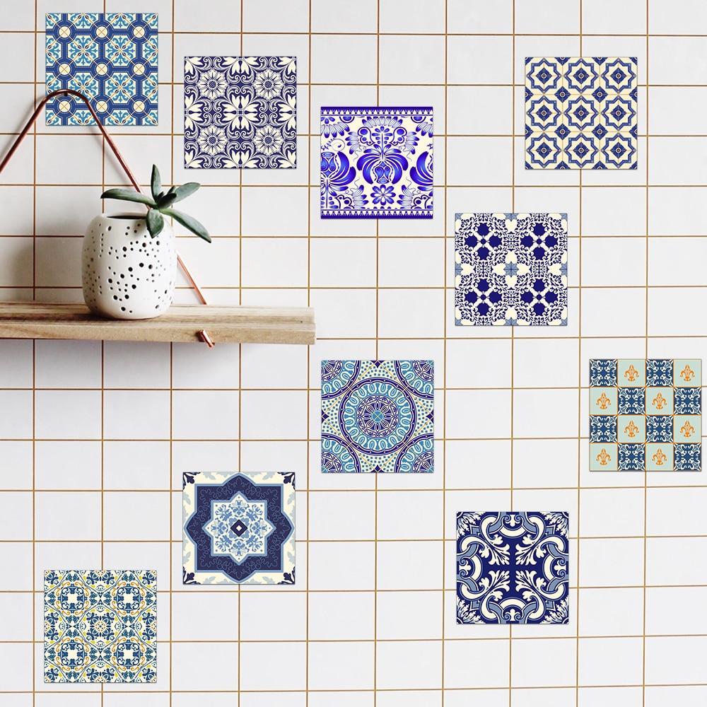Funlife 20 20cm 10pcs bathroom blue and - Azulejos vintage cocina ...