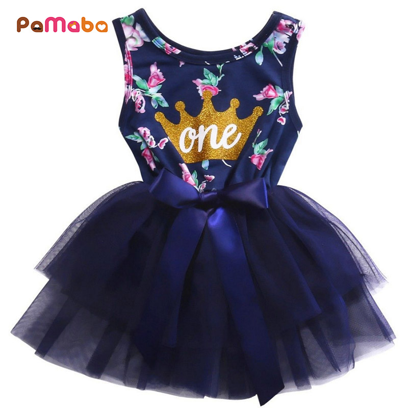 PaMaBa Elegant One Year Anniversary Baby Girls Birthday Party Dress Adorable Floral Print Sleeveless O-Neck Kids Mesh Tutu Dress