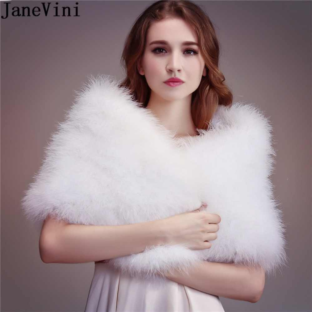 JaneVini 2019 Women Faux Fur Bolero Ostrich Feather Fur Wrap Bridal Capes Wedding Winter Party Shawls Pink Cloak Etole Fourrure
