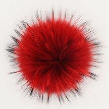 15-18 см натуральный мех енота помпоны цвета пушистый мех помпон для шапочки шапки натуральный мех помпоны