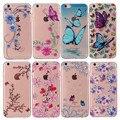 Para casos de apple iphone 6 6 s moda em relevo borboleta flor macia tpu silicone tampa traseira de proteção para iphone 6 plus 5s se