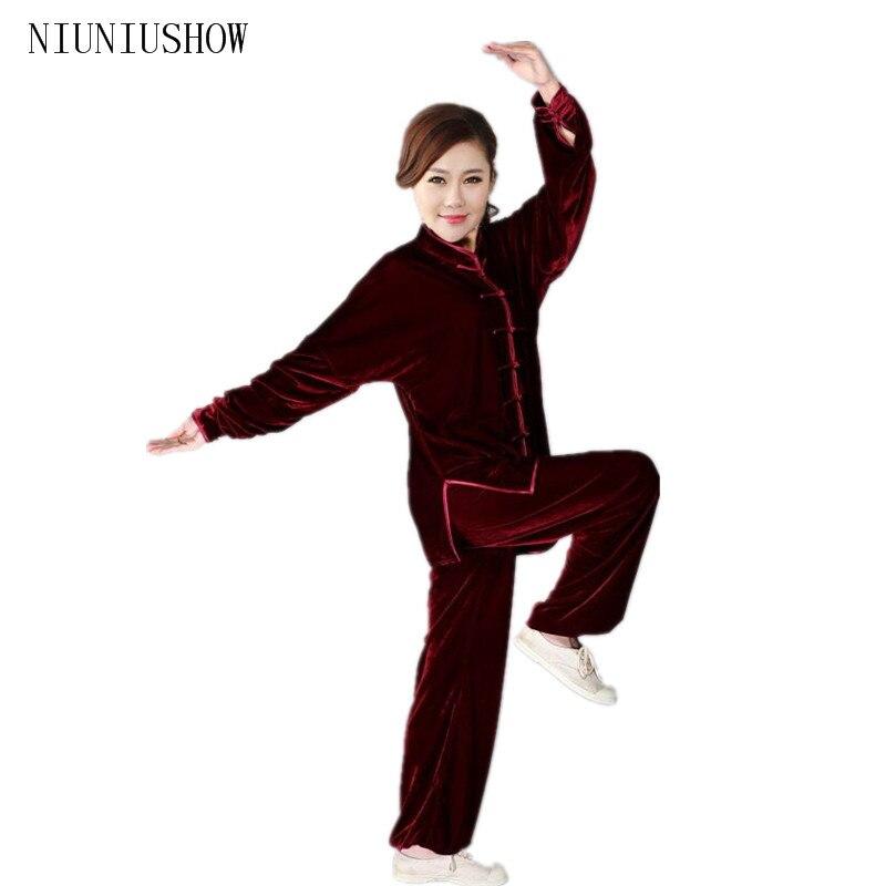 Burgundy Traditional Chinese Classic Style Kung Fu Sets Women Tai Chi Suit Size Size XXS XS S M L XL XXL XXXL женские брюки s m l xl xxl xxxl kz9012 women pants