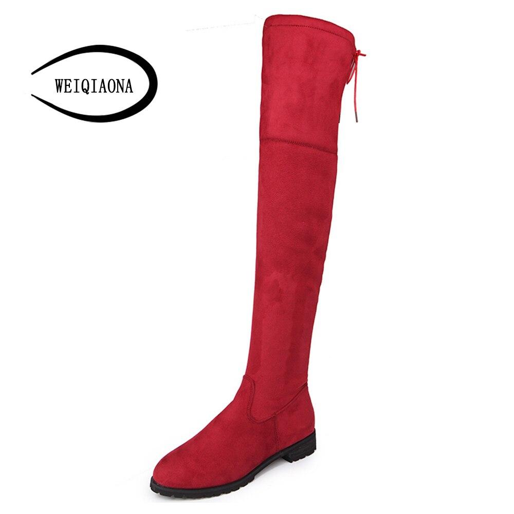Grande Bottes Bout Genou 43 Sangle rouge Taille Pointu Haute Hiver haute Noir Femmes Troupeau 2018 34 Weiqiaona Chaussures gris Croix Discothèque EvqfSgZ