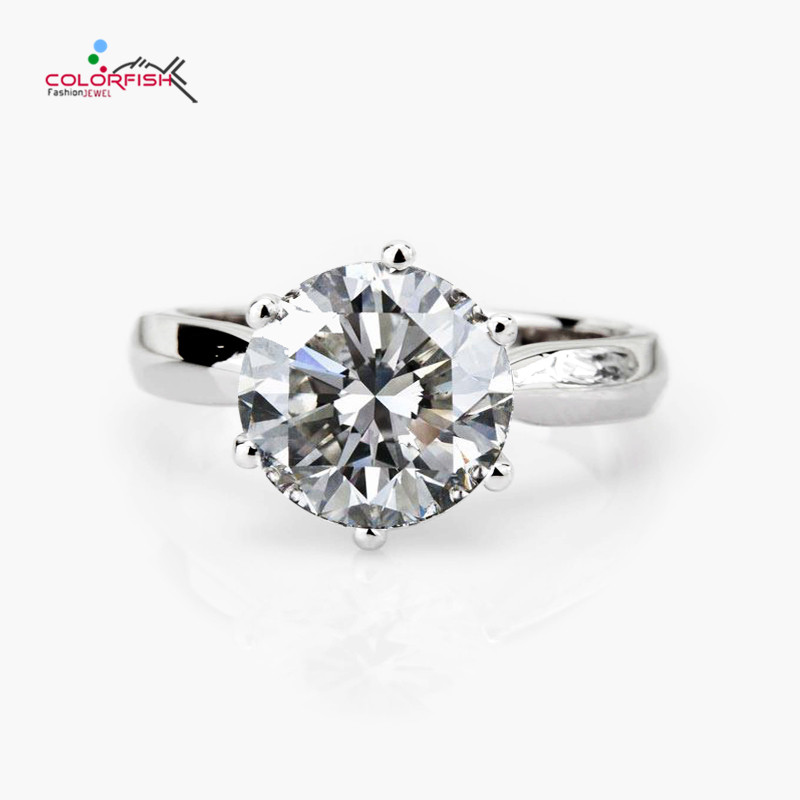 COLORFISH 3 5ct Solitaire Engagement Ring Classic Six Claws Round Brilliant Cut Sona Solid 925 Sterling