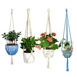 WITUSE macramé plante cintre crochet Pot titulaire fait à la main 100% coton cordon plante cintre suspendu porte-panier Simple/gland 28 35 46