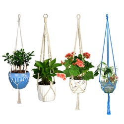 Wituse macrame planta gancho gancho titular pote artesanal 100% algodão cabo planta cabide pendurado cesta titular simples/borla 28 35 46