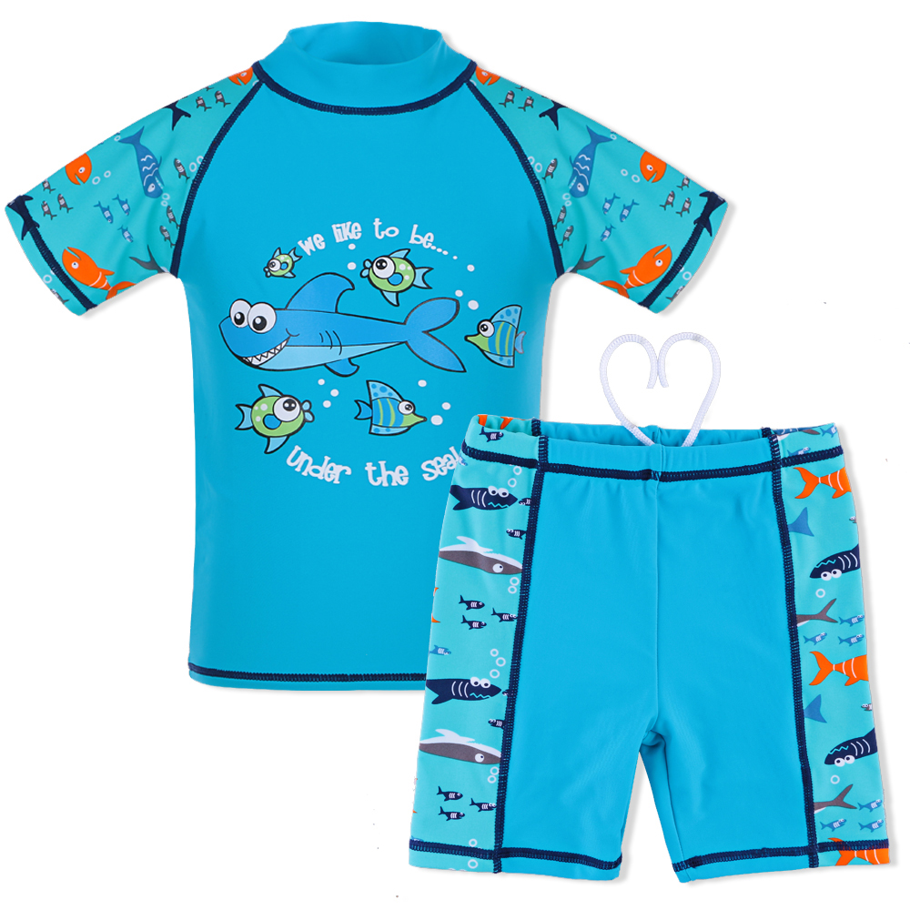 3-10 Years Boys Swimwear Two Piece Swimsuit Kids Cartoon Shark Pattern UPF50+ Boy Bathing Suit Lycra Swimming Wear Children 1 8 years old kids swimsuit for girls lovely yellow duck bathing suit children swimsuit princess one piece swimwear swimming cap