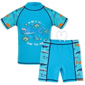 3-10 ans garçons maillots de bain deux pièces maillot de bain enfants dessin animé motif requin UPF50 + garçon maillot de bain Lycra vêtements de natation enfants