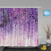 Art Printing Shower Curtain Spring Landscape Purple Floral Bathroom Shower Curtains Mildew Polyester Fabric Bathroom Curtains