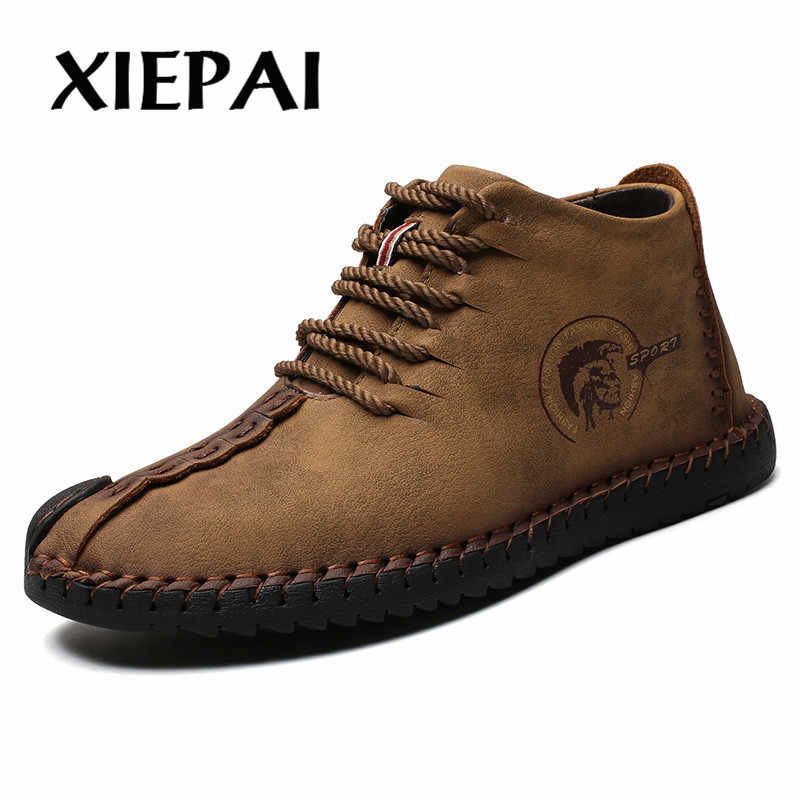 2019 Mode Mannen Laarzen Hoge Kwaliteit Split Leather Ankle Snowboots Schoenen Warm Bont Pluche Lace-Up Winter Schoenen plus size 38-48