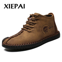 2019 Mode Mannen Laarzen Hoge Kwaliteit Split Leather Ankle Snowboots Schoenen Warm Bont Pluche Lace-Up Winter Schoenen plus size 38-48(China)