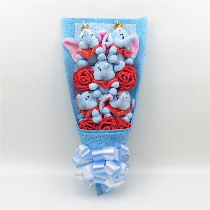 Lovely Stuff Animal Dumbo Elephant Plush Toys Cartoon Bouquet Gift Box With Fake Flowers Creative Gifts For Graduation/Birthday