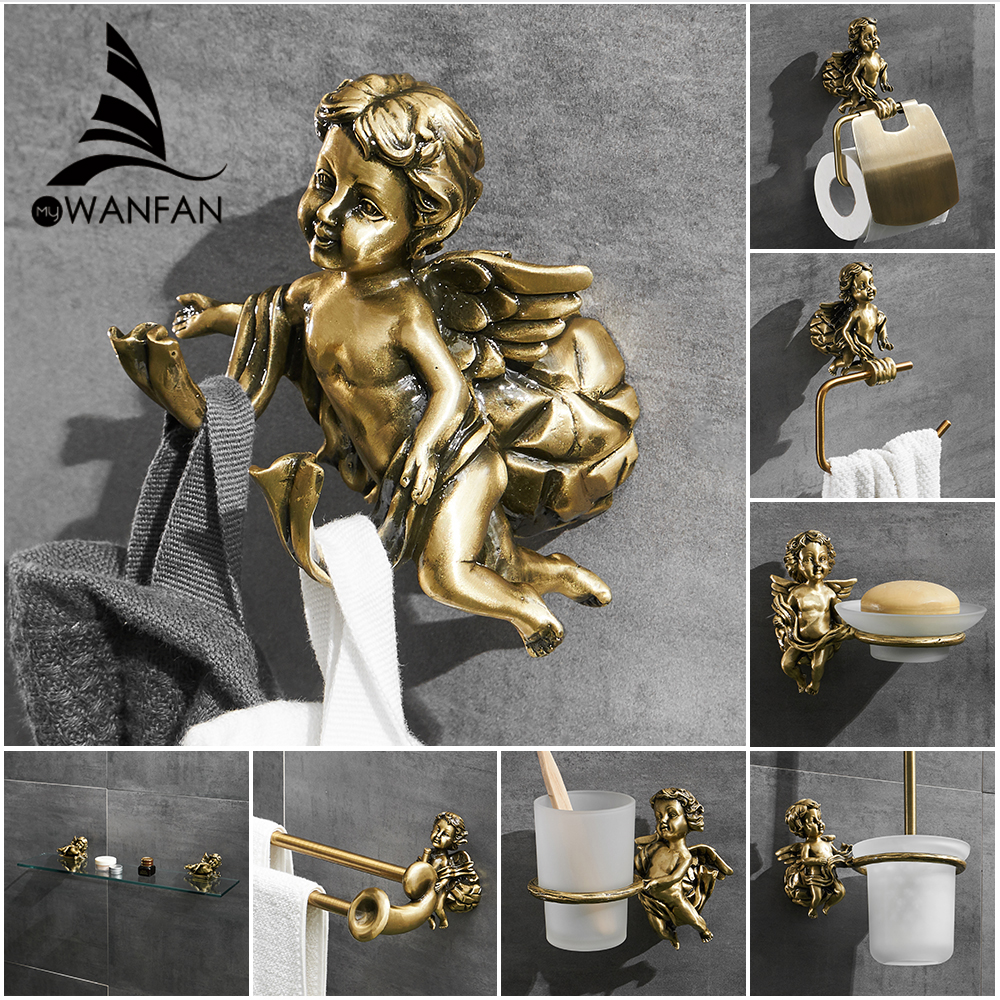 Robe Hooks Bronze Color Towel Hook Coat Clothes Hanger Door Rack Classic Angel Home Deco Wall Mount Bathroom Shelf MB-0782B