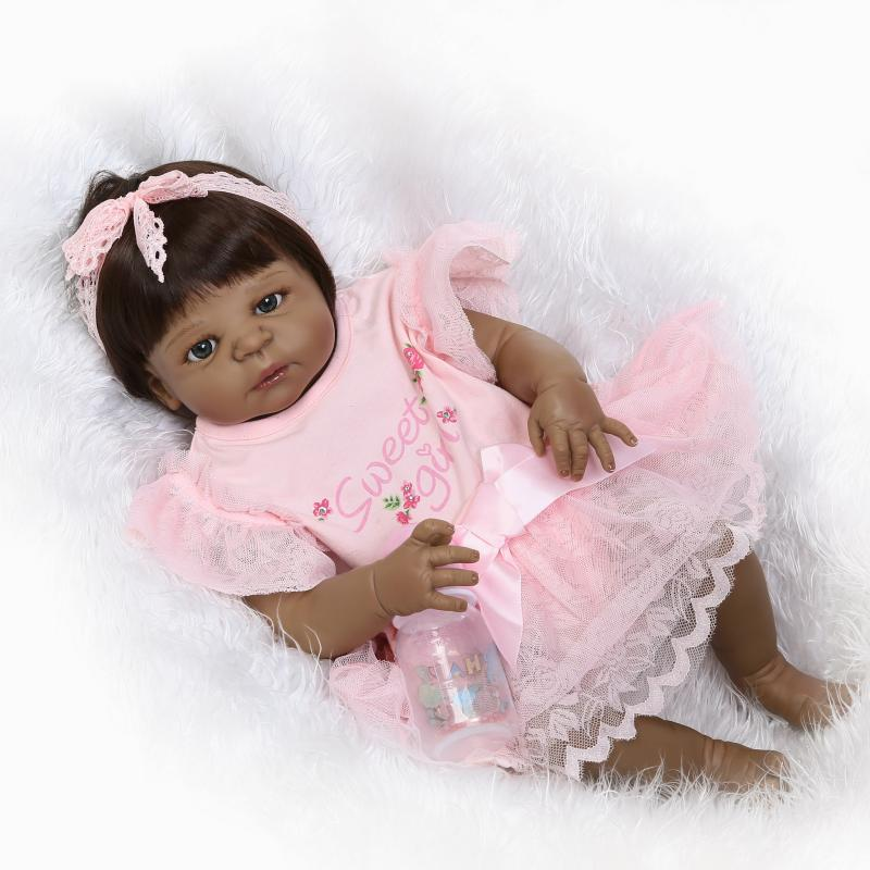 23 inch 57 cm Big Reborn Babies African American Baby Doll Black Girl Full Body Silicone Reborn Baby Doll Juguetes Brinquedos in Dolls from Toys Hobbies