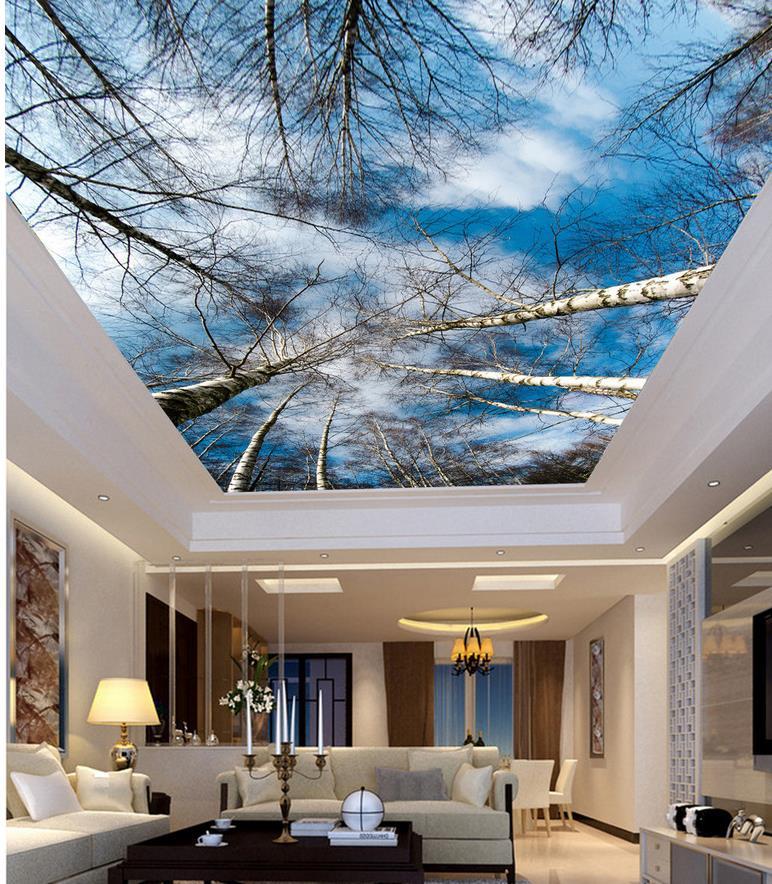 Wall Decoration 3d Wallpaper Nature Sky Birch Ceiling 3d