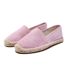 2ddf271ac Women Flat Casual Shoes Jute Sole Summer Shoe ladies Pink loafers Woman  Slip On Flats Outdoor