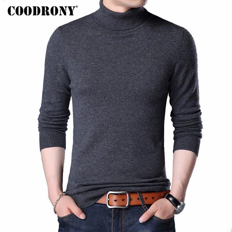 COODRONY Merino lana suéter hombres Casual clásico cuello alto Para Homme 2018 invierno cálido suave de los hombres Jersey suéteres 310