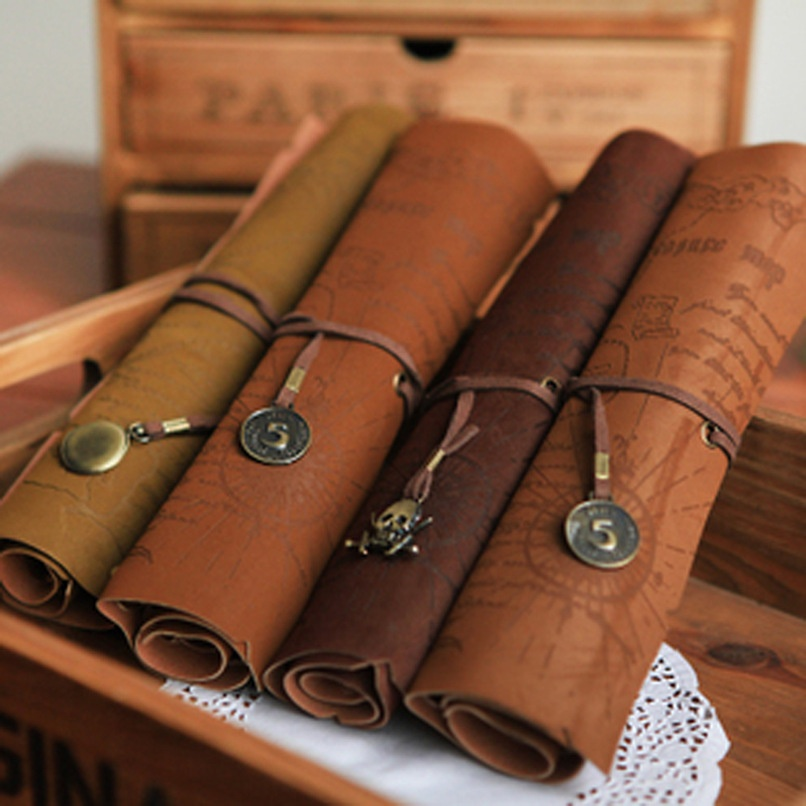 Vintage Pirate Roll Up PU Leather Pen Pencil Bag Case Treasure Map Kid Party Gift Favor Make Up Cosmetic Bag