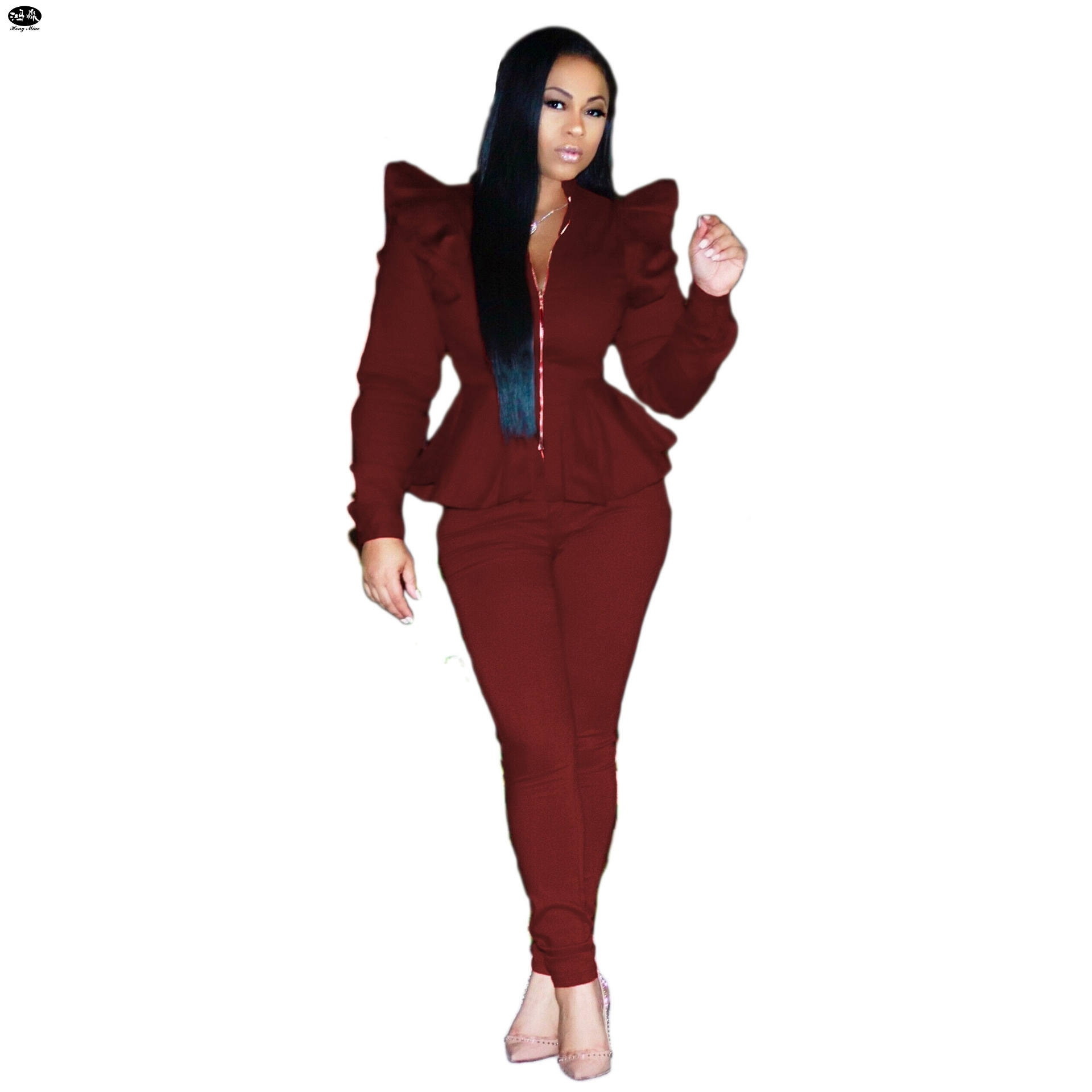 HongMiao 2018 New Fashion Autumn women top and pants shoulder pads long sleeve outfits casual zipper 2 pcs set solid tracksuit