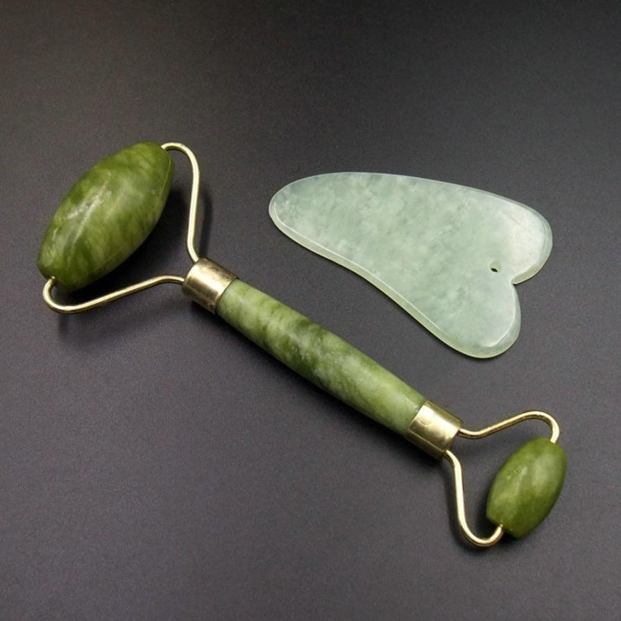 Gua Sha Jade Facial Massage roller Chinese Medicine Natural Jade Board Scraping Tool 1 set 2U0418 traditional acupuncture massage chinese gua sha tool jade stone gua sha board