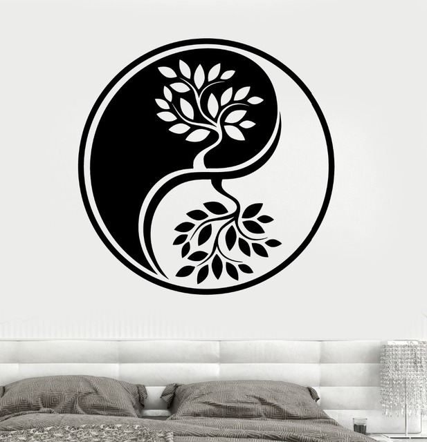 New Arrival Religion Vinyl Wall Decal Yin Yang Circle Trees Om ... on