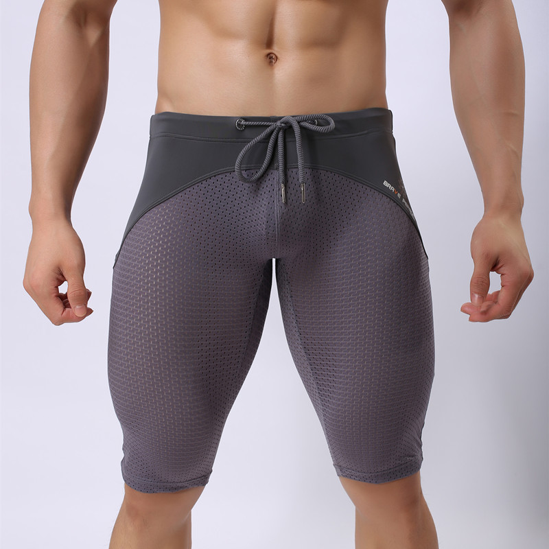 Low Rise Sexy Men Training Exercise Shorts Breath Mesh Patchwork Man Yoga GYM Sport Short Sportswear BRAVE PERSON Brand Quality