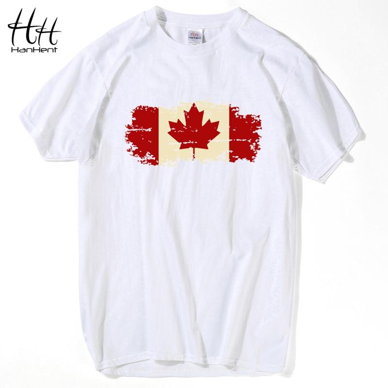 HanHent Canada Flag   T  -  shirts   Man O-neck Short Sleeve Tees Male Personalised   T     shirts   Streetwear usa Style Custom Tshirt